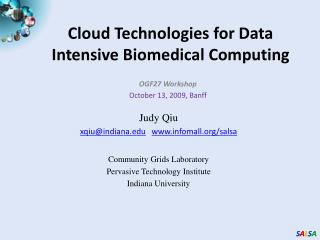Cloud Technologies for Data Intensive Biomedical Computing