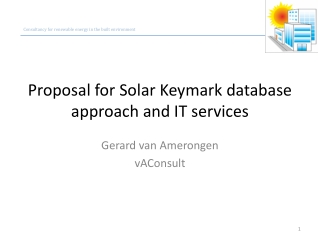 Proposal for Solar Keymark database approach and IT services