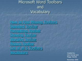 Microsoft Word Toolbars  and  Vocabulary