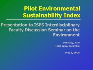 Pilot Environmental Sustainability Index