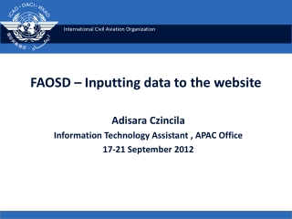 FAOSD – Inputting data to the website
