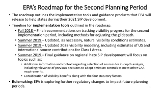 EPA's Roadmap for the Second Planning Period