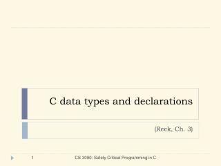 C data types and declarations