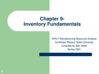 Chapter 9- Inventory Fundamentals