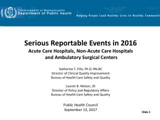 Serious Reportable Events in 2016 Acute Care Hospitals, Non-Acute Care Hospitals