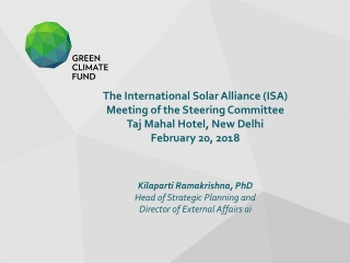 The International Solar Alliance (ISA) Meeting of the Steering Committee