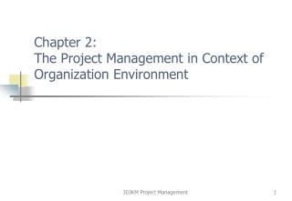 Chapter 2: The Project Management in Context of Organization Environment