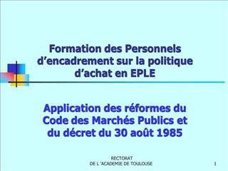Formation des Personnels d encadrement sur la politique d achat en EPLE