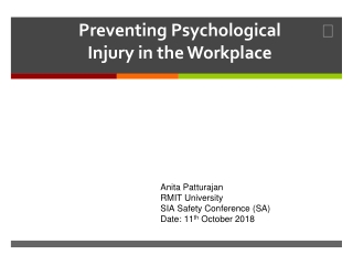 Preventing Psychological Injury in the Workplace