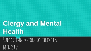 Clergy and Mental Health
