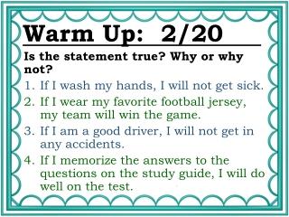 Warm Up: 2/20