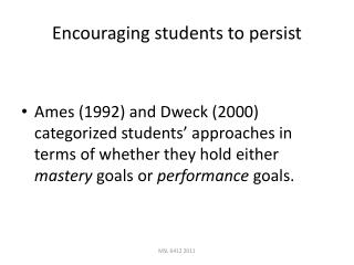 Encouraging students to persist