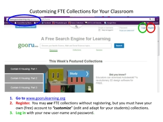 Customizing FTE Collections for Your C lassroom