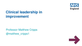 Clinical leadership in improvement