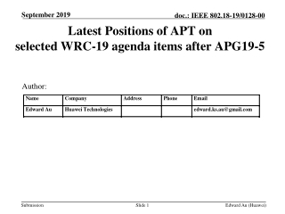 Latest Positions of APT on selected WRC-19 agenda items after APG19-5