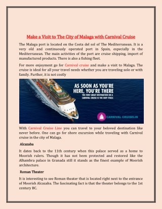 Make a Visit to The City of Malaga with Carnival Cruise