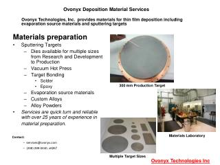 Ovonyx Deposition Material Services