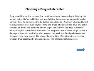 Choosing a Drug rehab center