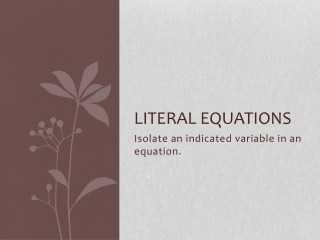 Literal Equations