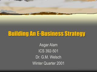 Building An E-Business Strategy