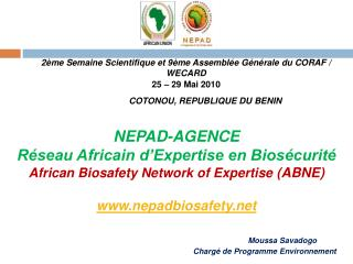 NEPAD-AGENCE  R seau Africain d Expertise en Bios curit   African Biosafety Network of Expertise ABNE   nepadbiosafety