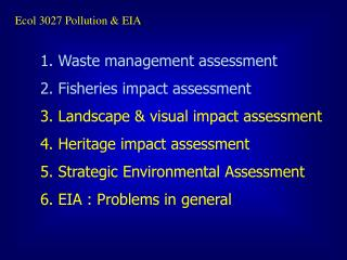 Ecol 3027 Pollution & EIA