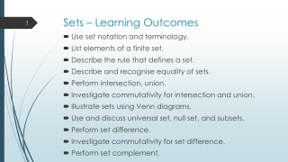 Sets – Learning Outcomes