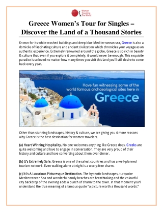 Greece Women's Tour for Singles – Discover the Land of a Thousand Stories