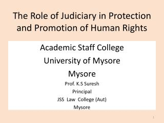 The Role of Judiciary in Protection and Promotion of Human Rights