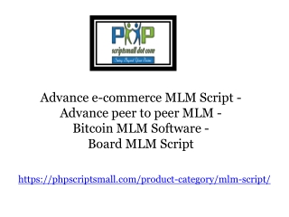 Advance e-commerce MLM Script