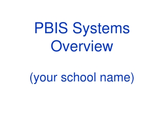 PBIS Systems Overview (your school name)