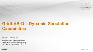 GridLAB-D – Dynamic Simulation Capabilities