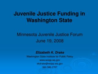 Juvenile Justice Funding in Washington State