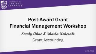Post-Award Grant Financial Management Workshop