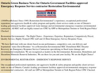 Ontario Green Business News for Ontario Government Facilitie