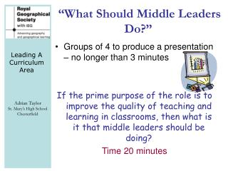 """What Should Middle Leaders Do?"""