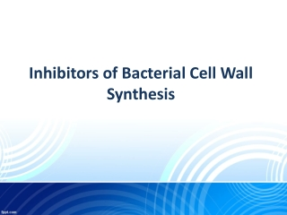Inhibitors of Bacterial Cell Wall Synthesis