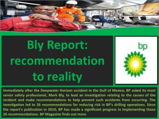 BP Holdings Barcelona - Bly Report: recommendation to realit