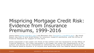 Mispricing Mortgage Credit Risk: Evidence from Insurance Premiums, 1999-2016