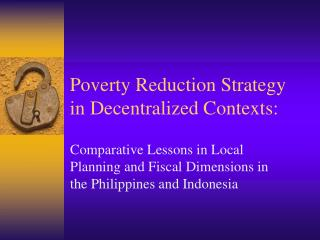 Poverty Reduction Strategy in Decentralized Contexts: