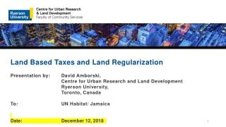 Land Based Taxes and Land Regularization