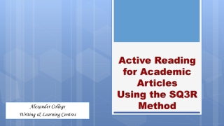 Active Reading for Academic Articles Using the SQ3R Method