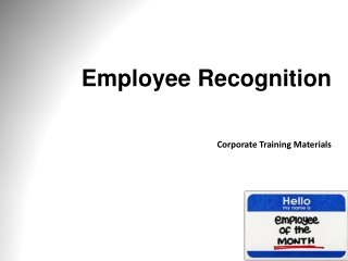 Employee Recognition Corporate Training Materials