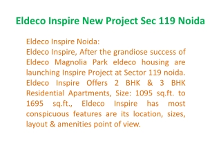 Eldeco new project Inspire 9899606065 Eldeco Inspire Noida