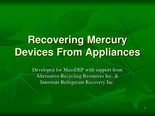 Recovering Mercury Devices From Appliances