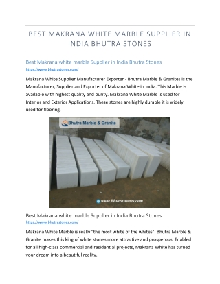 Best Makrana white marble Supplier in India Bhutra Stones