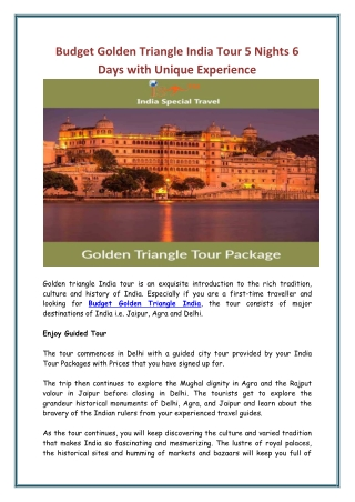 Budget Golden Triangle India Tour 5 Nights 6 Days with Unique Experience