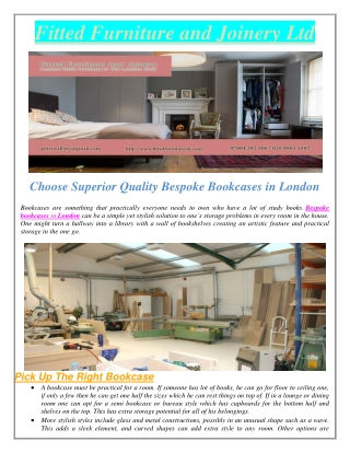 Choose Superior Quality Bespoke Bookcases in London