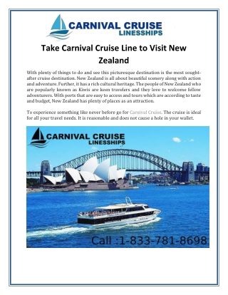 Take Carnival Cruise Line to Visit New Zealand