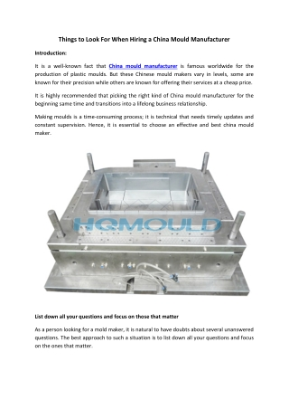 Things to Look For When Hiring a China Mould Manufacturer